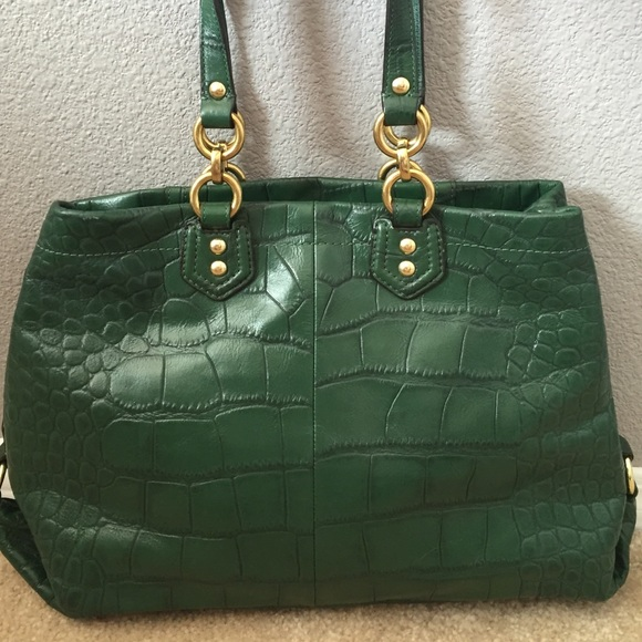 83% off Coach Handbags - Coach Ashley forest green croc leather ...