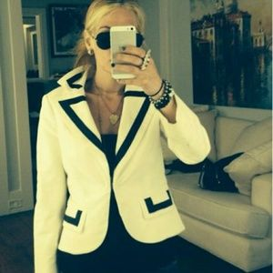 White alice + olivia blazer with black satin trim
