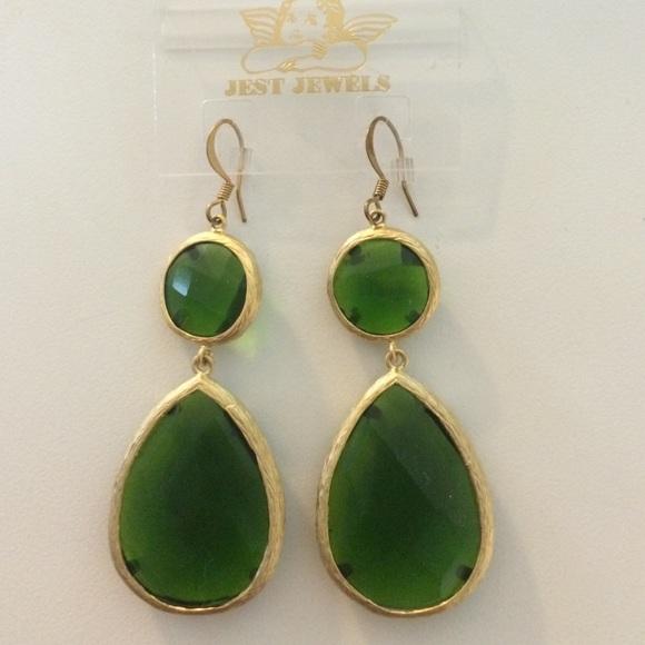 b7bf2dd3b Jest Jewels Jewelry   Nwot Never Worn Green Stone Earrings   Poshmark