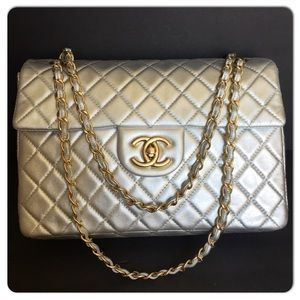CHANEL SILVER WITH GHW MAXI FLAP