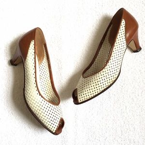 Vintage White & Brown Peeptoe Kitten Heels
