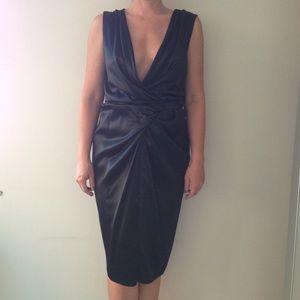 Ports 1961 Dresses & Skirts - Ports 1961 Black silk charmeuse drape front dress