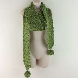 Hand knit Green Tweed Ribbed Pom Pom Scarf