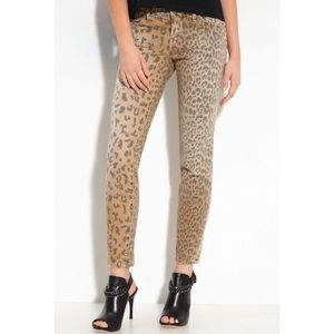 Denim - Animal Print Faded Wash Skinny Jeans Size 26