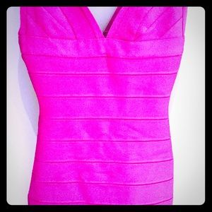 Herve Leger raspberry dress