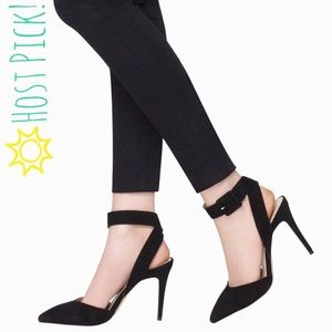 Shoemint Shoes - NWT Shoemint Ankle Buckle Heel LOLA in Black Suede