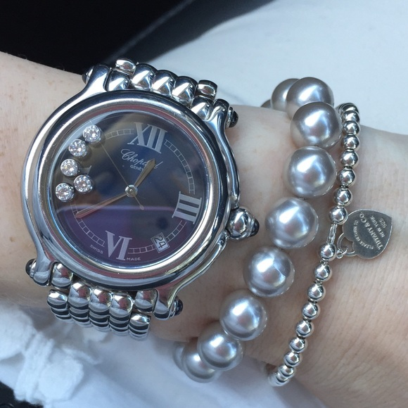Chopard Accessories   Happy Sport 5diamond Ss Watch   Poshmark e331ea3a33