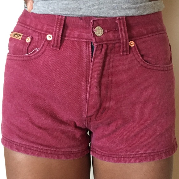 Burgundy Denim Shorts