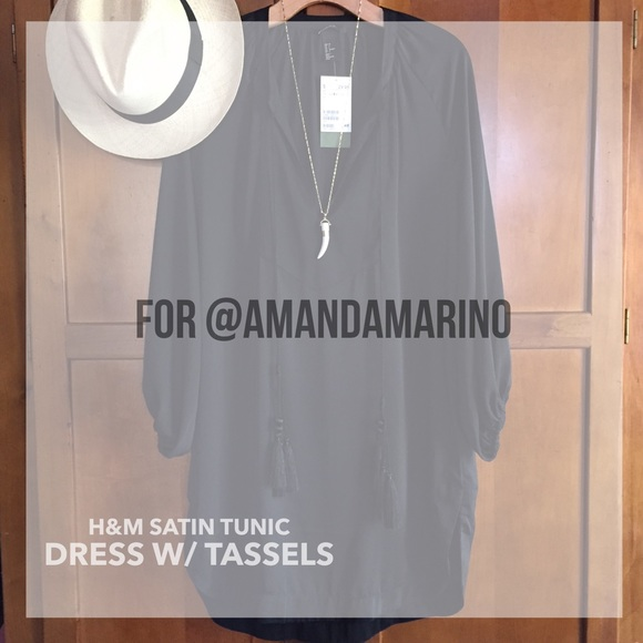 1d1d4748e0d7 H&M Dresses | Black Satin Tunic Dress With Tassel Ties By Hm | Poshmark
