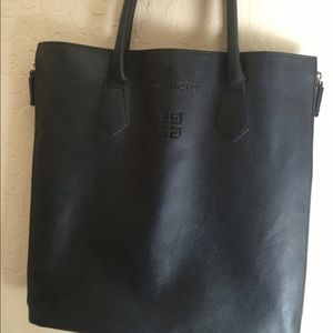 f087be6fe75 Givenchy Bags | Faux Leather Givency Parfums Black Zipper Tote ...