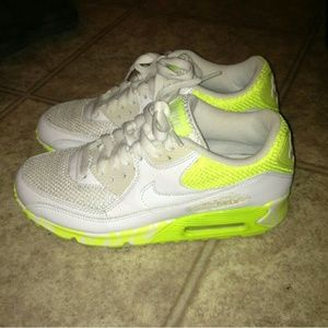 Nike Air max 90 size 7 white and neon yellow woman