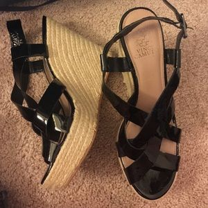 Vince Camuto Patent Leather Wedges