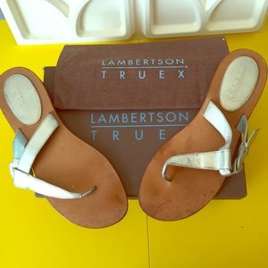 Lambertson Truex Goldie Metallic Silver Flats