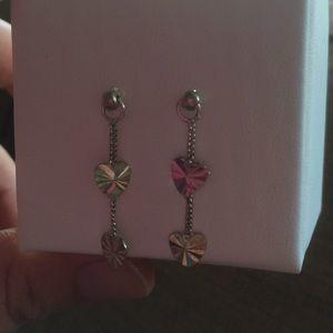 Jewelry - 925 silver heart dangling earrings