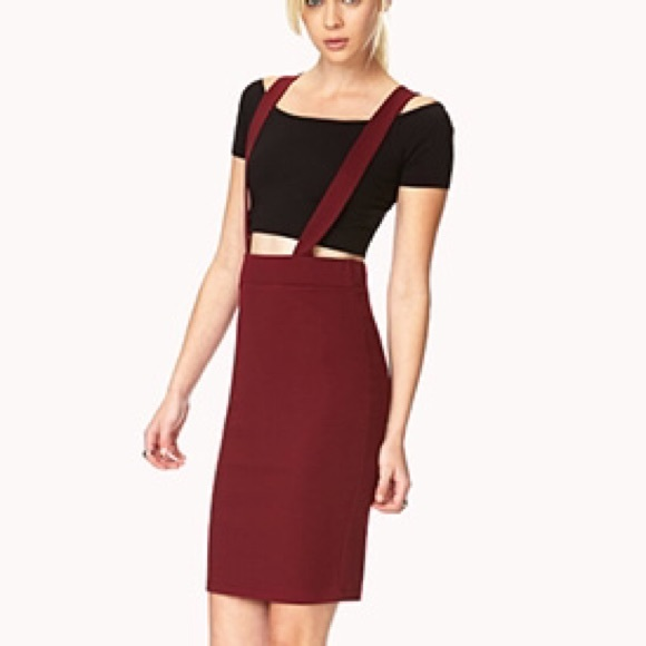 843a36557d1 F21 burgundy overalls pencil skirt