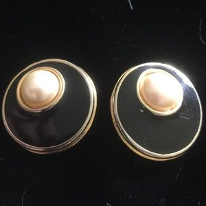 Gold tone clip earrings with black and pearl