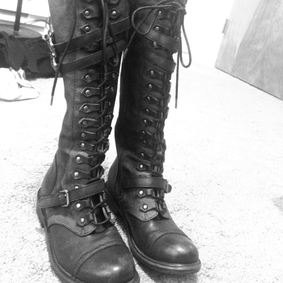 67% off Zigi Soho Boots - Tall Black Combat Boots - Size 9 from ...