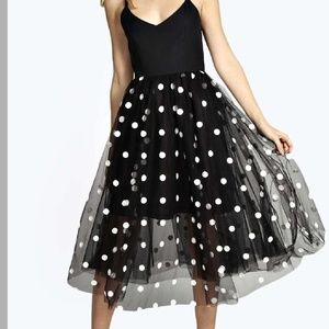 NWT. Polkadot midi dress!
