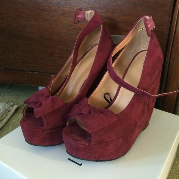 Forever 21 Shoes Burgundy Open Toe Wedges Poshmark