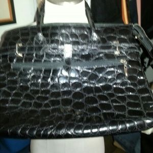 Carla Mancini leather alligator large bag