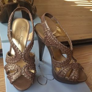 Jessica Simpson Rose Gold Heels 6.5 EUC sale!