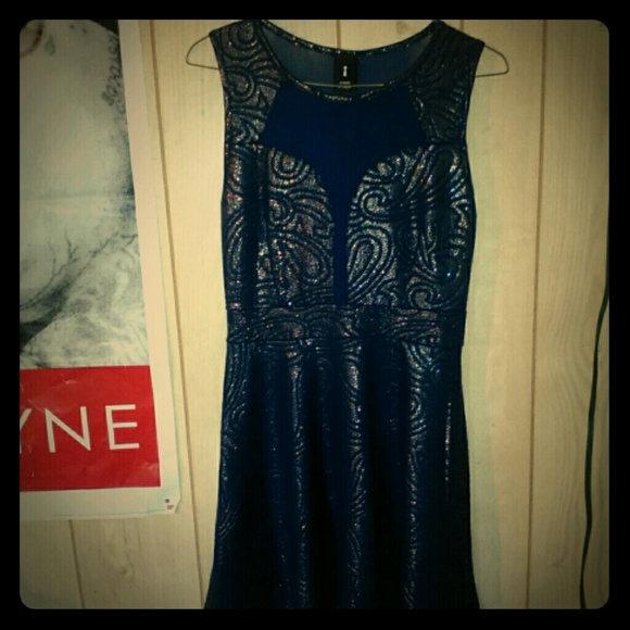 Dresses & Skirts - Blue and gold skater dress with mesh front & back