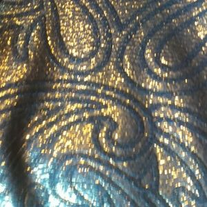 Dresses - Blue and gold skater dress with mesh front & back