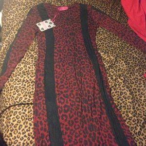 Linda Leopard Bodycon Midi Dress Red-14