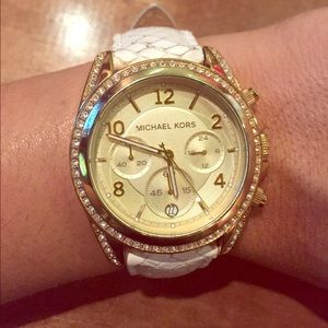 Michael Kors Accessories - Gold and White Snake Skin Michael Kors Watch