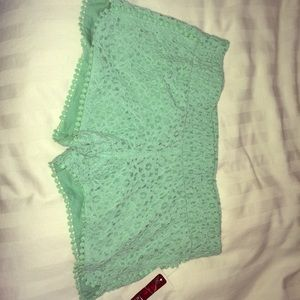 NWT Mint blue crochet shorts
