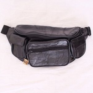 Black Leather Fanny Pack