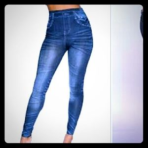 High waisted denim print jeggings leggings