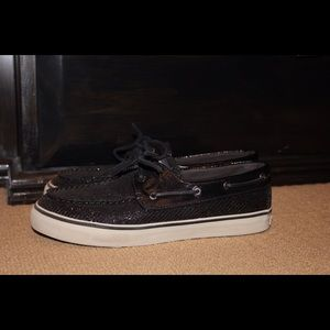 Black Sparkly Sperry Topsiders