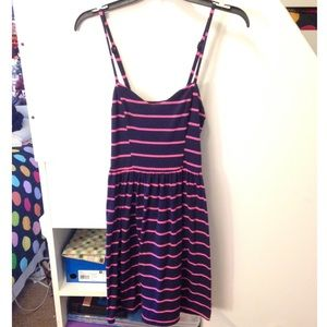 Navy blue and pink striped sweetheart dress