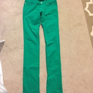 Green skinny jeans by Loomstate