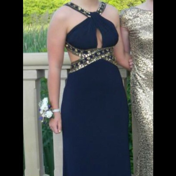 Betsy Adam Dresses Navy Blue And Gold Embellishment Prom Dress