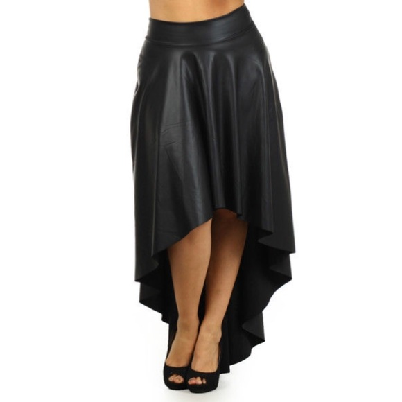 Faux Leather Hi Lo Maxi Skirt Plus Size Black 3X