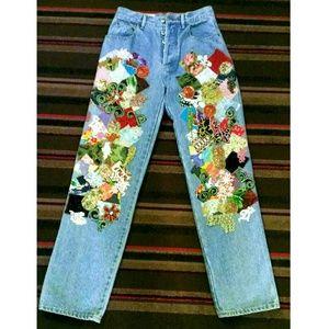 Vintage Bergdorf Goodman patchwork denim jeans OBO