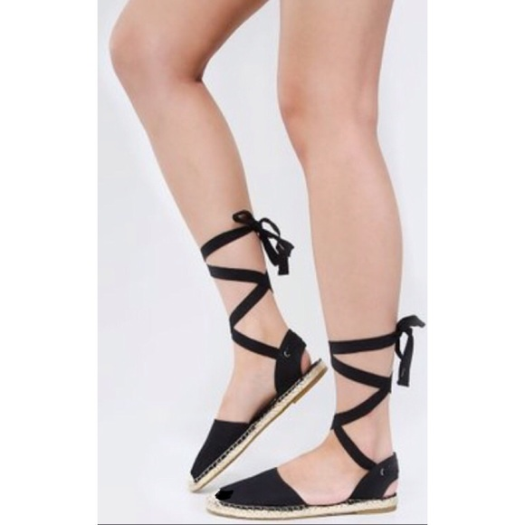 27b39b1cacc0 Forever 21 Shoes - Beautiful black espadrilles lace up sandals