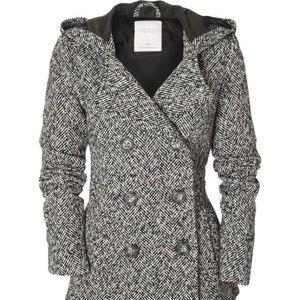 Herringbone Hooded Pea Coat