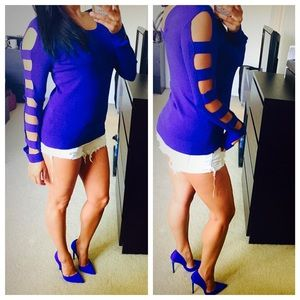 Tops - Royal blue cut out sweater