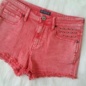 Kendall & Kylie Denim - Kendall & Kylie Spikes Coral High-Rise Shorts