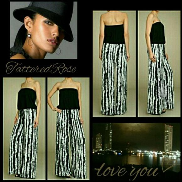 19aa4dd9a76 Tye Dye Black   White Print Jumpsuit