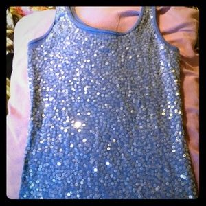Blue sequence front tank top