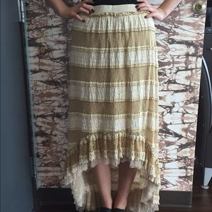 Areve Dresses & Skirts - Oatmeal Lace Striped High-low Skirt