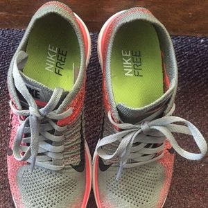 Nike Shoes Free Run Flyknit 40 Coral And Grey Like New  Free Run Flyknit 40 Coral And Grey Like New