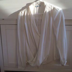 Tops - White drapy wrap blouse