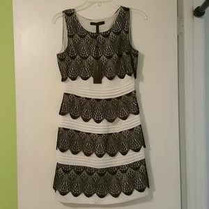 BCBGMaxazria Lace Tiered Black White Dress