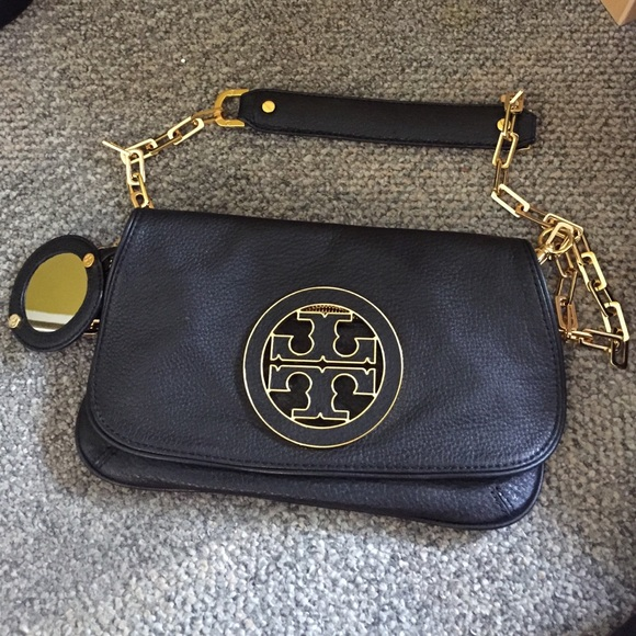 fd37bf64e920 TORY BURCH Amanda Clutch with Gold Logo and Strap