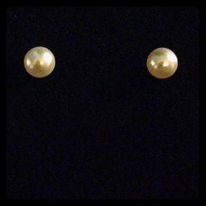 14K Yellow Gold  Freshwater Pearl Stud Earrings
